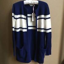 Nwt Vineyard Vines Cashmere Blend Navy Blue White Long Cardigan Sweater Sz Small Photo