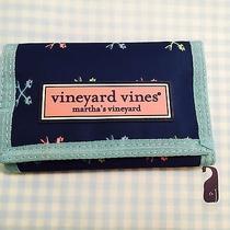 Nwt Vineyard Vines Cross Fishbonestri Fold Marine Blue Wallet  Nwt Free Shipping Photo