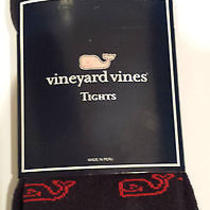 Nwt - Vineyard Vines Girls L/xl 5-10 Tights in Blue Blazer With Red Whale Motif Photo