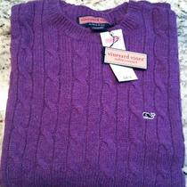 Nwt Vineyard Vines Men's Sweater   Large Purple   Cable Crew Neck Photo