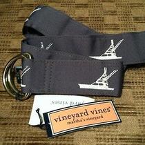 Nwt Vineyard Vines Mens D-Ring Embroidered Ribbon Belt in Starry Night Sz Medium Photo