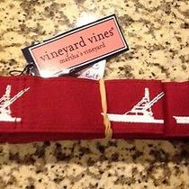 Nwt Vineyard Vines Mens D-Ring Embroidered Ribbon Belt in Varsity Red Size Xxl Photo
