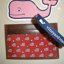Nwt Vineyard Vines Mens Flags Credit Business Card Case Wrist Band  Gift Box Photo