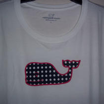 Nwt Vineyard Vines White Womens Cotton T-Shirt Blue Polka Dot Whale  Photo