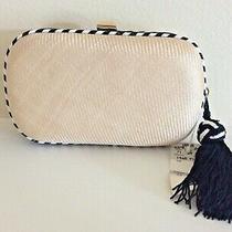 Nwt Vintage Bottega Veneta Black & Cream Silk Woven Clutch Bag With Tassel  Photo