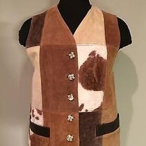 Nwt Vintage Compagnie Internationale Express Suede Leather Patchwork Vest Small Photo