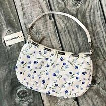 Nwt Vintage Le Sport Sac Niki Purse Hobo White Blue Tulips Flowers Shoulder Bag Photo