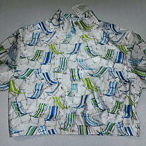 Nwt Vintage Retro Nicole Miller Medium Short Top Blouse Beach Chair Design Nwt Photo