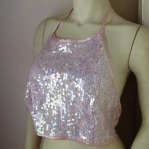 Nwt - Vintage Victoria's Secret Silk Teddy Halter Top Silk Sequin Pink M Photo