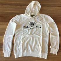 Nwt White Color New Balenciaga Long Sleeve Cotton Hoodie Sweatshirt Size Large Photo
