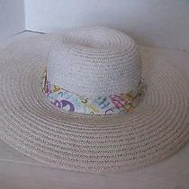 Nwt  White Floppy Summer Hat With Coach Scarf  One Size Photo