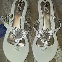 Nwt White Simply Vera Vera Wang Chunky Beaded Wedge Sandals Sz 7 Photo