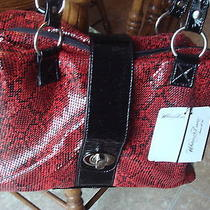 Nwt Whiting Davis Black & Red Metal Mesh Patent Leather Shoulder Hand Bag Purse Photo