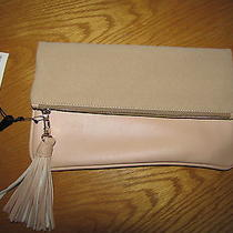 Nwt Who What Wear Pink Blush Faux Leather Suede Fold Zip Clutch Bag Msrp 24.99 Photo