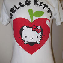 Nwt Wms Women's Jr Hello Kitty T-Shirt Tee Apple Heart M  Delicious  White Photo
