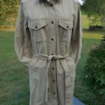 Nwt Womans Large  Tan Shirt Style Gap Dress With Pockets and Belt Photo