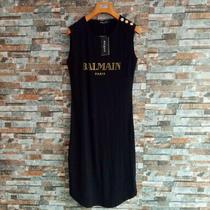 Nwt Women's 100%Cotton Bal-Main Skirt Gold Buttons Letters Black T-Shirt Dresses Photo