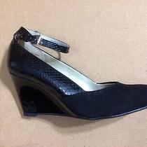 Nwt Women's Bandolino Black Snakeskin & Suede Strappy Wedge Heels Size 6 Photo
