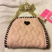 Nwt Women's Betsey Johnson Chain Mini Quilted Tote Blush Photo