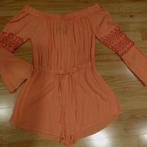Nwt Women's Blush Coral Boho Peasant Off Shoulder Shorts Romper Size Large Photo