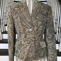 Nwt Womens Career Blazer Size 4 Grace Elements Gold Brown Paisley Print 118 Photo