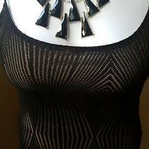 Nwt Women's Guess Lorry Diamond Knit Bodycon Dress  M Black. Photo