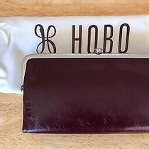 Nwt Women's Hobo Leather Double Frame Clutch Wallet Lauren Deep Plum Photo
