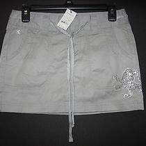 Nwt Women's/juniors Sz 0 Gray With Silver Cotton Mini Skirt - Express - 49.50 Photo
