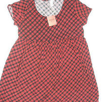 Nwt Women's Mossimo Supply Co Short Sleeve Red/black Plaid Sun Day Dress L/g New Photo