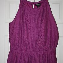 Nwt Women's Nicole by Nicole Miller Lace Peplum Top Size L Purple Clover Photo