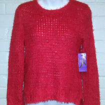 Nwt Women's Rampage Christmas Red Sparkly Loose Knit Sweater Size S Photo