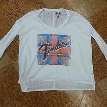 Nwt Womens Chaser Union Jack Fender Guitar White Vintage Burn Out T-Shirt Small  Photo