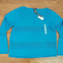 Nwt Womens Chelsea & Theodore Aqua Blue Long Sleeve Knitted Sweater Size Xxl 2xl Photo