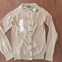 Nwt Womens Eddie Bauer Tan Brown Heather Ruffle L/s Cardigan Sweater Size Small Photo