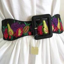 Nwt Womens Express Black Muti Embroidered Tropical Fruits Leather Elastic Belt M Photo
