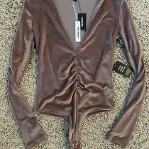 Nwt Womens Express Champagne Rose Color Velour Long Sleeve Bodysuit Size Xs Photo