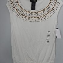 Nwt Womens Grace Elements Cream Off White Embellished Knit Top Size M Cap Slv Photo