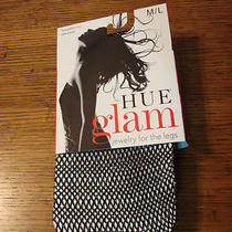 Nwt Womens Hue Glam Lurex Net Tights Sz. M/l 1 Pair Black 422b Photo