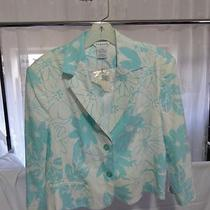 Nwt Womens Jacket Spring Summer George 14 Aqua White Floral Size 14 Linen Rayon Photo