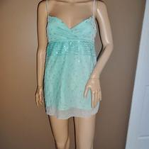 Nwt Womens Juniors Bcbg Girls L Aqua Blue Sheer Sequin Low Cut Sleeveless Blouse Photo
