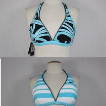Nwt Womens Nike Aqua Blue Black & White Reversible Swimsuit Bikini Swim Top 16 Photo