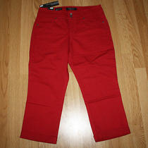 Nwt Womens Nine West Jeans Red Bling Annette Denim Roll Cuff Capris Size 8 Photo