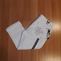 Nwt Womens Nine West Jeans White Bling Annette Denim Roll Cuff Capris Size 16 Photo