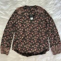 Nwt Womens S Small Lucky Brand Black Pink Floral Long Sleeve Blouse Top Photo