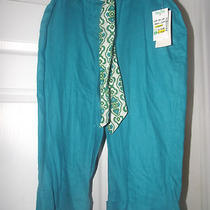 Nwt Womens Studio Petite Jpr Linen Capri Size 8 Belt Cuff Aqua Blue Pretty Look Photo