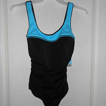 Nwt Womens Sz 12 Nwt Reebok Swim Gold 1 Piece Swimsuit Bathing Suit Black Aqua & Photo
