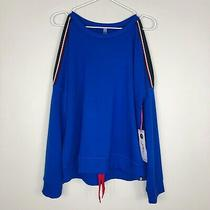 Nwt X by Gottex Women's Blue Cold Shoulder Sweatshirt Drawstring Hem Size Medium Photo