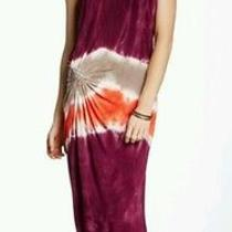 Nwt Young Fabulous and Broke Medium Strapless Maxi Dress Yfb Flame Macaw Tye Die Photo