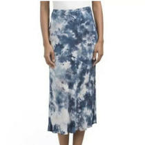 Nwt Young Fabulous and Broke Tie Dye Felicity Satin Midi Skirt Slit Blue Size L Photo