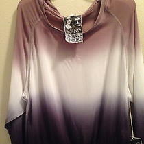 Nwt Young Fabulous & Broke Szl Red Rock Top Black Ombre Sheer Blouse Long Sleeve Photo